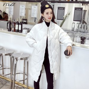 FTLZZ Ultra Light White Duck Down Coat Winter Long Womens Slim Down Jackets Oversize Autumn Puffer Black Parkas