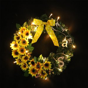 Thanksgiving Wreath Creative Sunflower Garland Home Party Event DIY Door Window Hanging Fake Flowers Wreath With Light