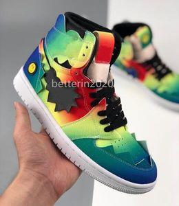 New J Balvin x 1 alta OG tênis de basquete Multi-cores do arco-íris da tintura do laço Jumpman 1s Homens Mulheres Chausures Sports Trainers Sneakers Size5.5-10