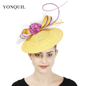 New design yellow with purple hair fascinator hat headband bridal wedding party headpiece mesh ladies occasion hair accessories