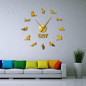 Cat Kits Effect Cat Big With Clock Breed Mirror Numbers Pet Modern Diy Shorthair Cat Wall Wall Needle Decor Clock American Clock OaDWB