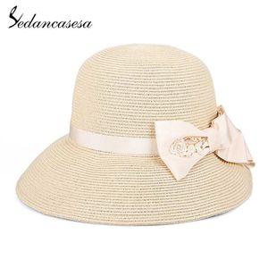 Sedancasesa Новая мода Складные женщин шлемов Sun Summer Straw Hat для женщин Handmade Bowknot Caps соломы Cap Портативный Sun Hat