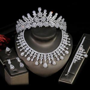 Sposa di lusso in 5 pezzi serie di Dubai Gioielli Copricapo e collana Set per le donne monili di cerimonia nuziale