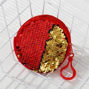 Kinder S Pailletten Geldbeutel Tasche Kopfhörer Speichergeldbörse Schlüsselanhänger Handtasche Mädchen Double Color Schlüsseltasche Zipper-Beutel-Handtasche 7 Farben E9901