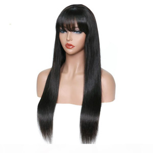 Brazilian Virgin Hair Wigs 4x4 Closure With Bangs Glueless Preplucked Unprocessed Human Hair Lace Front Wig With Bangs