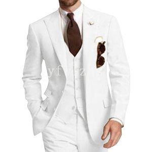 Handsome Two Buttons Groomsmen Peak Lapel Groom Tuxedos Mens Wedding Dress Man Jacket Blazer Prom Dinner suits (Jacket+Pants+Tie+Vest) W334