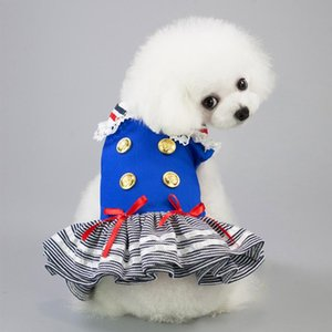Chien Chat Chiot Halloween Costume marine rayé marin dentelle Patchwork Robe sans manches de Noël Outfit Pet Birthday Party Robes