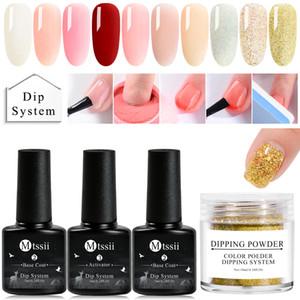 4Pcs / Set Dipping Powder Nail System Kit Nail Art Acryl Dip Powder Liquid Gel Farbe Natur trocken ohne Lampe Gel