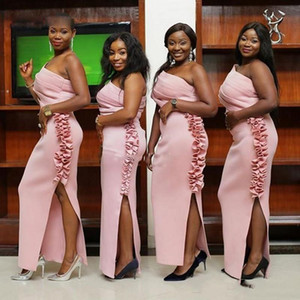 New Cheap African Pink Bridesmaid Dresses One Shoulder Cap Sleeves Satin Sheath Side Split Floor Length For Wedding Guest Dress Party Gowns