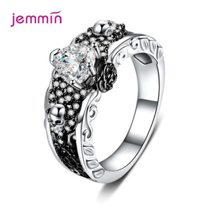 Boutique Women Men Gothic Punk Style Skull Rings Skeleton Heart CZ Crystal 925 Sterling Silver Finger Ring Hip Hop Jewelry