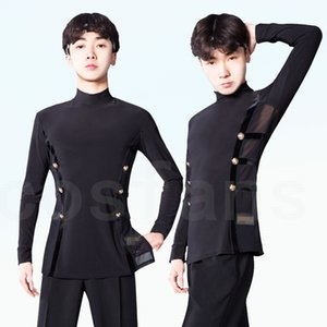 Latin Dance Shirts Men Black Long Sleeve High Collar Competition Performance Top Male Cha Cha Rumba Tango Samba Clothes in stock