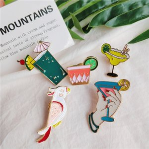 Fashion Summer Juice Drink Parrot Birds Colorful Cocktail Holiday Enamel Brooch Shirt Jean Collar Pins Bag badge Jewelry