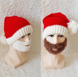Chapéu vermelho do Natal Plush malha e Cap Xmas férias Knitting Beard enfeites Decoração para Papai Noel Adulto manter aquecido