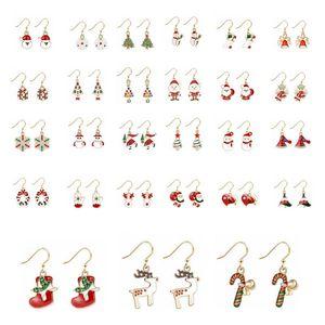 Christmas Earrings Xmas Ear Hook Gifts Christmas Tree Deer Santa Claus Shaped Earring Women Designer Jewelry Christmas Decoration DHD1385