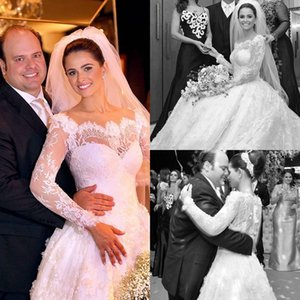 Vestidos De Noiva 2020 Beautiful A-line Lace Long Sleeve Wedding Dresses Bridal Gowns Cheap Dress AQ161
