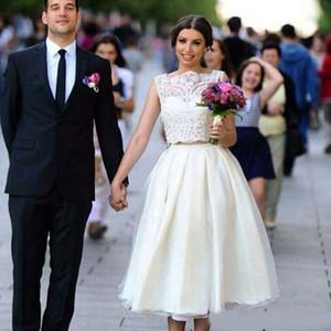 Thé longueur courte robes de mariée Une ligne Deux Pièces manches Campagne Jardin classique mariée Robes de mariée Custom Made