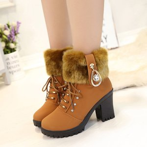 2020 Autumn And Winter New Solid Color Velvet Martin Boots Front Lace-up Non-slip High Heel Round Head Mom Shoes Lace-up Women's Short