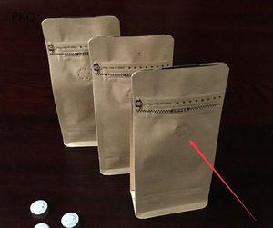 Kraftpapier-Aluminiumfolie Luftventil Stand Up Pouch Nuss Snack Kaffee-Schokoladen-Verpackungs-Beutel halbes Pfund acht Seiten Seal Bag TPRC #