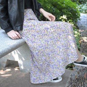 Hpnty Pequeño verano falda de flores 2020 nuevo vestido de gasa de línea de Corea SKIRT- A-LINE A seda y seda sobrefalda de las mujeres púrpuras