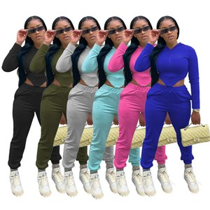 Women 2 piece sets fall winter casual clothing crop top jacket pants S-2XL outfits solid color cardigan leggings outerwear+capris