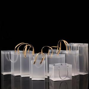 نصف مسح متجمد PVC حقائب اليد حقيبة هدية ماكياج مستحضرات التجميل العالمي التغليف البلاستيكية واضحة أكياس شقة حبل جولة / 10 مقاسات لاختيار