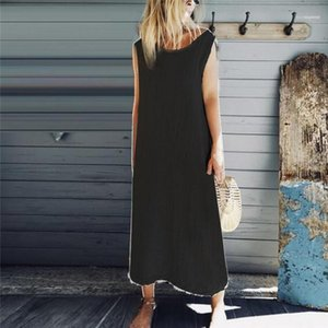 Plus Size Dresses Sleeveless Pure Color Dress Panelled O neck Lady One Piece Female Clothes Womens