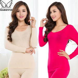 Queenral Women Thermal Underwear Set For Winter Long Johns Second Skin Winter Female Thermal Clothing Cotton Thermal Shirt Women 200924