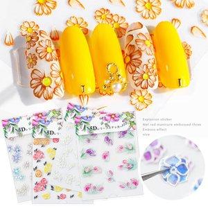 5D Flower Nail Stickers incisi acrilici Nail Art Sticker fiori colorati Leave Template autoadesivo della decorazione Stickers