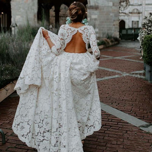 Boho Full Lace Wedding Dresses Long Sleeve Hollow Backless Ribbon Sash Floor Length Bohemian Bridal Gowns Custom Plus Size