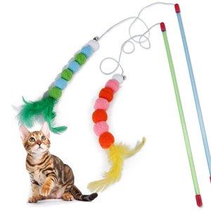 Pesca BL5 New Toy Cat vara vara Feather Suprimentos Plastic Acessórios Wand Brinquedos Gato engraçado Interativo Rod Cat Pet Pet Game bbyTVe