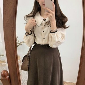 2020 Women Blouse Vintage Contrast Color Long Sleeve Turn Down Collar Shirts Spring Autumn Causal Korean Top Blusas Femme