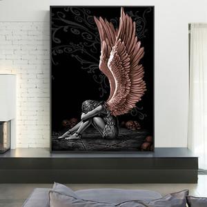 Ángeles y demonios pintura de la lona de caracteres alas grises del cráneo Poster Imprimir escandinava Cuadros Arte cuadro de la pared de la sala de estar