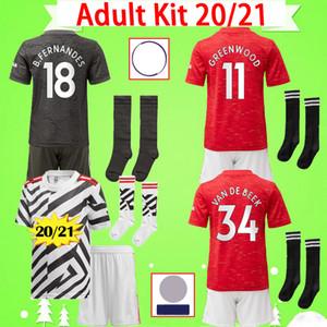 Maillot Manchester United Kit adulte 2020 2021 maillot de football UTD VAN DE BEEK définit MARTIAL RASHFORD maillot de football pour homme 20 21 chaussettes courtes