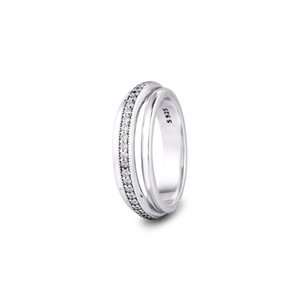 CKK Anillo triple banda Anillos pavimenta Mujeres Anel Femenino 100% 925 joyería de plata esterlina Anillos Mujer compromiso de la boda