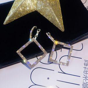 925 silver needle EurAmerican hyperbole set diamond square fashion earrings female Korea long style personality55