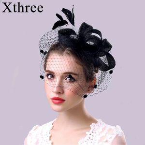 moda Xthree chapéu do partido Cambric Banquetes chapéus para mulheres avestruz pele Fedora casamento chapéu