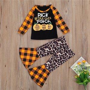 Хэллоуин Дети плед 2 шт комплект одежды тыква печать футболка + мода расклешенные брюки младенческого младенца Tracksuit нарядах легкий костюм с шортами ткань D9402