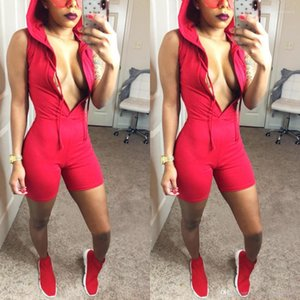Womens Sports Jumpsuits Solid Candy Color Summer Hooded V neck Rompers One Piece Suits Shorts
