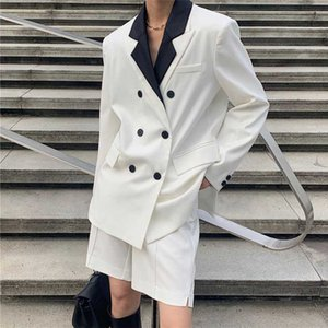 Spring women's suit casual solid color double-breasted pocket decoration stitching suit + shorts