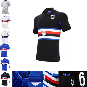 20 21 Sampdoria Home Soccer Jersey 2020 Sampdoria # 14 Jankto # 7 Linetty Soccer Shirt Yoshida Maroni Gabbiadini Uniforme de Futebol Preto Camisas