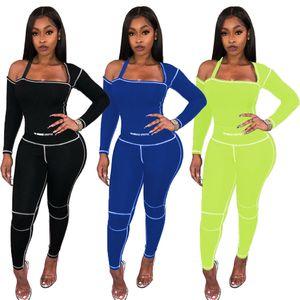 Frauen Sexy Trainingsanzüge Solide Farbe Eine Schulter Langarm Top Leggings Hosen 2 Zwei Teile Outfits Set Sportswear Anzug Plus Größe Kleidung