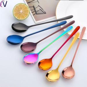 Cucharas del comprador Star 8 colores Cuchara de acero inoxidable con mango largo Café de hielo Cocina Cocina Vajilla Tamaño 21 cm
