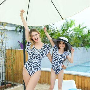 New Leoprinted Dots Polyester Cute Parent-Child Swimwear Round Collar Girl Swimsuits Mother And Daughter Ruffled Swimwear Bikini