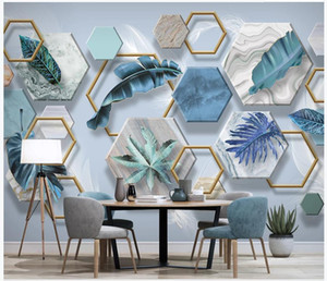 Custom photo wallpapers for walls 3d murals Modern simple tropical plant leaf white feather 3D stereo background wall papers home decoration