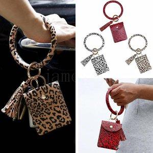 Bracelet Sac Carte Wallet Keychain Bracelet léopard Porte sac à main Bracelet avec carte de crédit Porte-HHC1010 de Faveur Parti Tassel