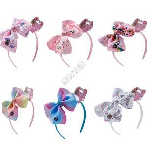 6 İnç Jojo Siwa Hairband Çocuklar Tasarımcılar Kafa Saç Bow Hoops Gökkuşağı Yaylar Karikatür Unicorn Kurdele Çocuk Cadılar Bayramı Aksesuarlar D9702