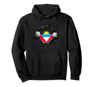 Antigua Flag Pullover Hoodie Unisex Size S-5XL with Color Black Grey Navy Royal Blue Dark Heather Antiguan Flag Hands