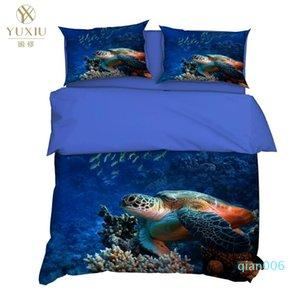 Conjuntos Yuxiu 3D cama Blue Sea Duvet Covers 3Pcs Set Dolphin Lençois capa do edredon Rei Rainha completa Duplo Duplo Tamanho
