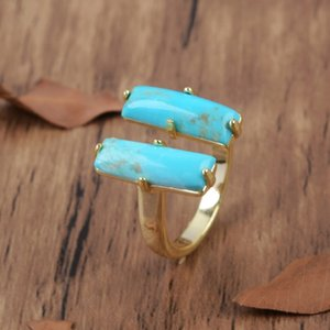 Natural Turquoises Rectangle Rings Double Stone Blue Howlites Gold Color Ring Gems Adjustable Ring Party Girls Gift Dopship