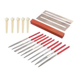 SHGO HOT-18 Pcs Guitar Repair Tool Kit Guitar Maintenance Kit Grinding Stone Bridge Plastic String Nails Frets Nut File Set
